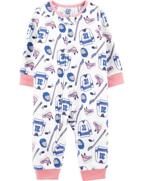 Pyjama 1 pièce en molleton sans pieds motif hockey