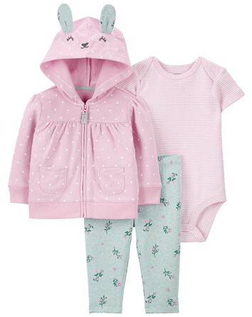 3-Piece Bunny Little Cardigan Set