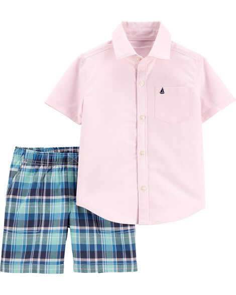2-Piece Oxford Button-Front Shirt & Plaid Short Set