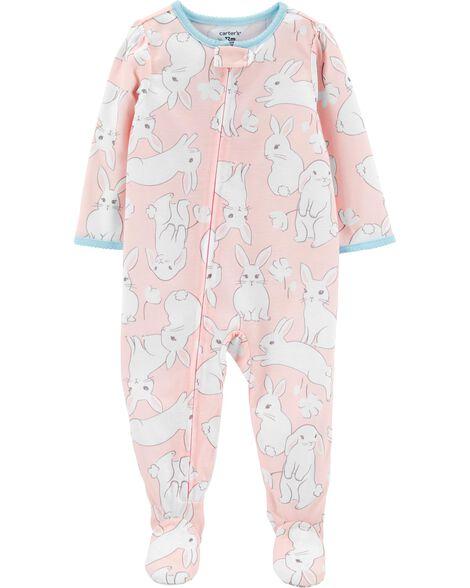 Pyjama 1 pièce à pieds en polyester à lapin