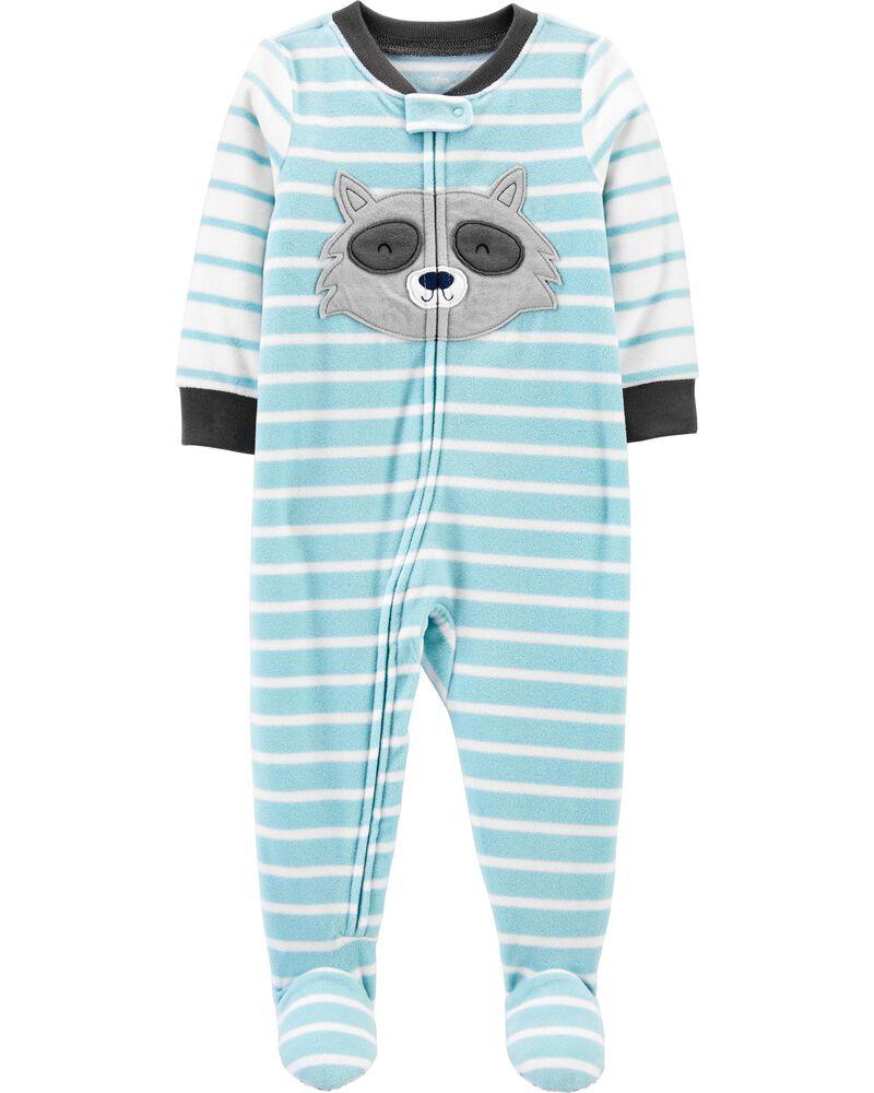 1-Piece Raccoon Fleece Footie PJs, , hi-res