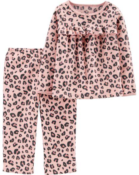 Pyjama 2 pièces en molleton à imprimé léopard