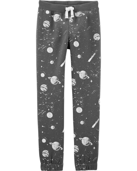 Space Pull-On Fleece-Lined Joggers