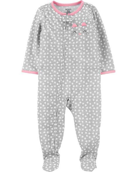 Pyjama 1 pièce en polyester avec pied à motif de chat