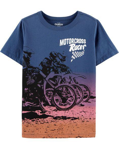 T-shirt à imprimé motocross
