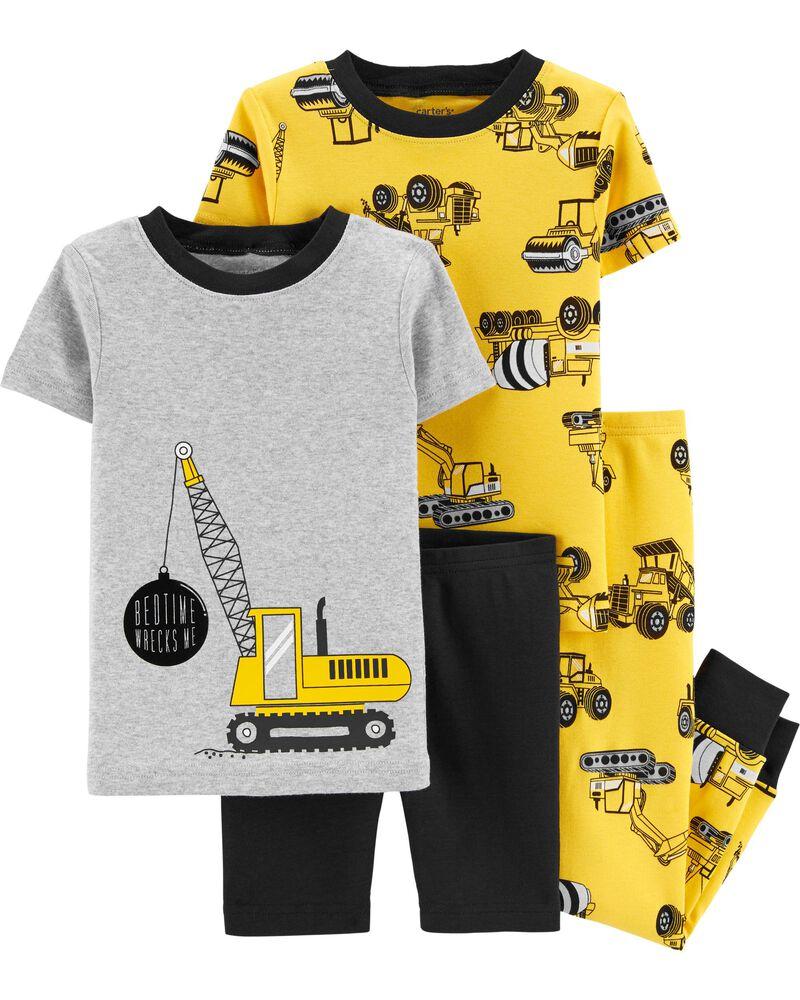 Pyjama 4 pièces en coton ajusté à motif construction, , hi-res