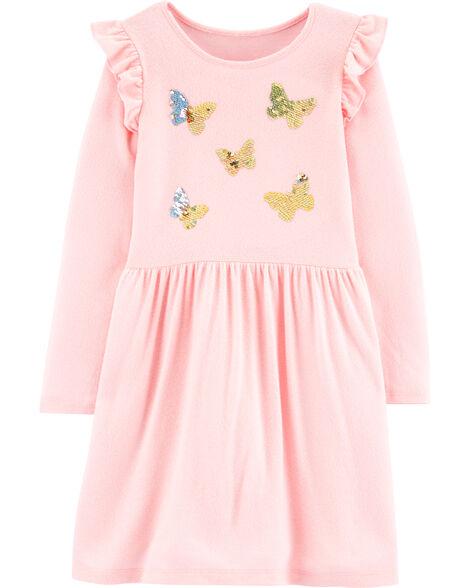 Robe en jersey à papillons en paillettes