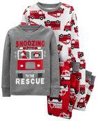 4-Piece Firetruck 100% Snug Fit Cotton PJs, , hi-res