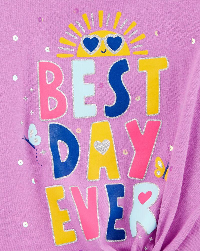 Best Day Ever Tie-Front Jersey Tee, , hi-res
