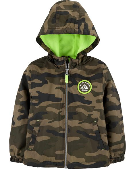 Midweight Camo Print Fleece-Lined Jacket