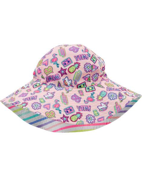 Chapeau cloche réversible à licorne et rayures