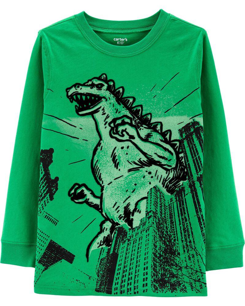 T-shirt en jersey à motif dinosaure, , hi-res