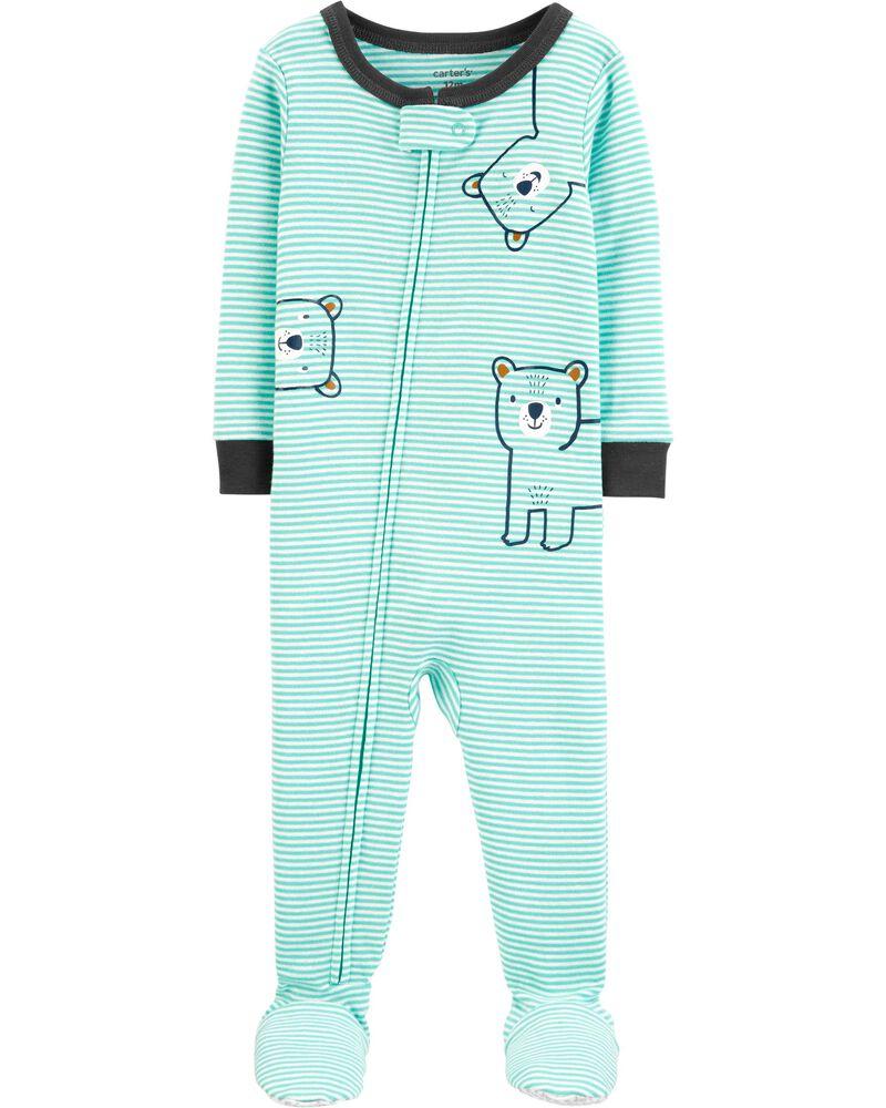Pyjama 1 pièce à pieds en coton ajusté motif ourson, , hi-res