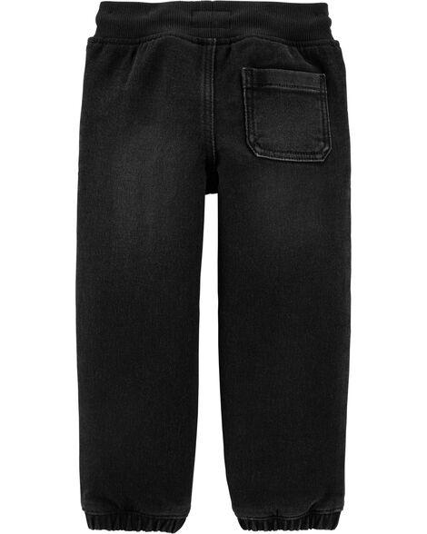 Pantalon de jogging en tricot de denim - délavage foncé Atom