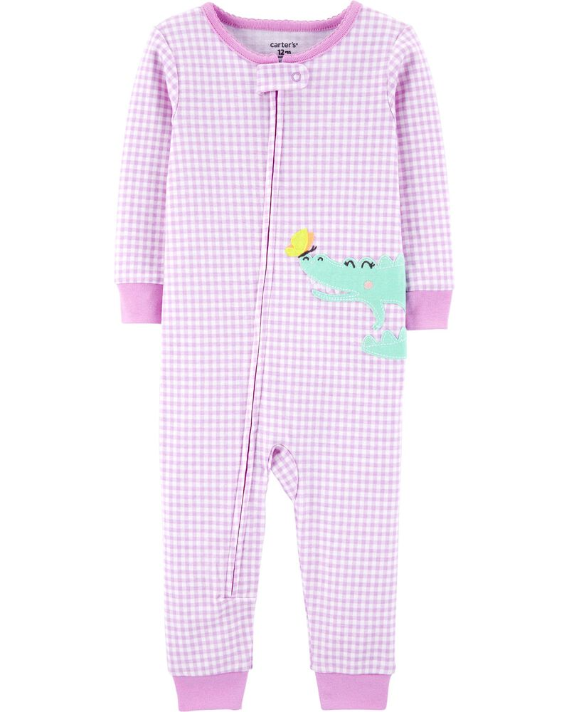1-Piece Gingham Alligator Snug Fit Cotton Footless PJs, , hi-res