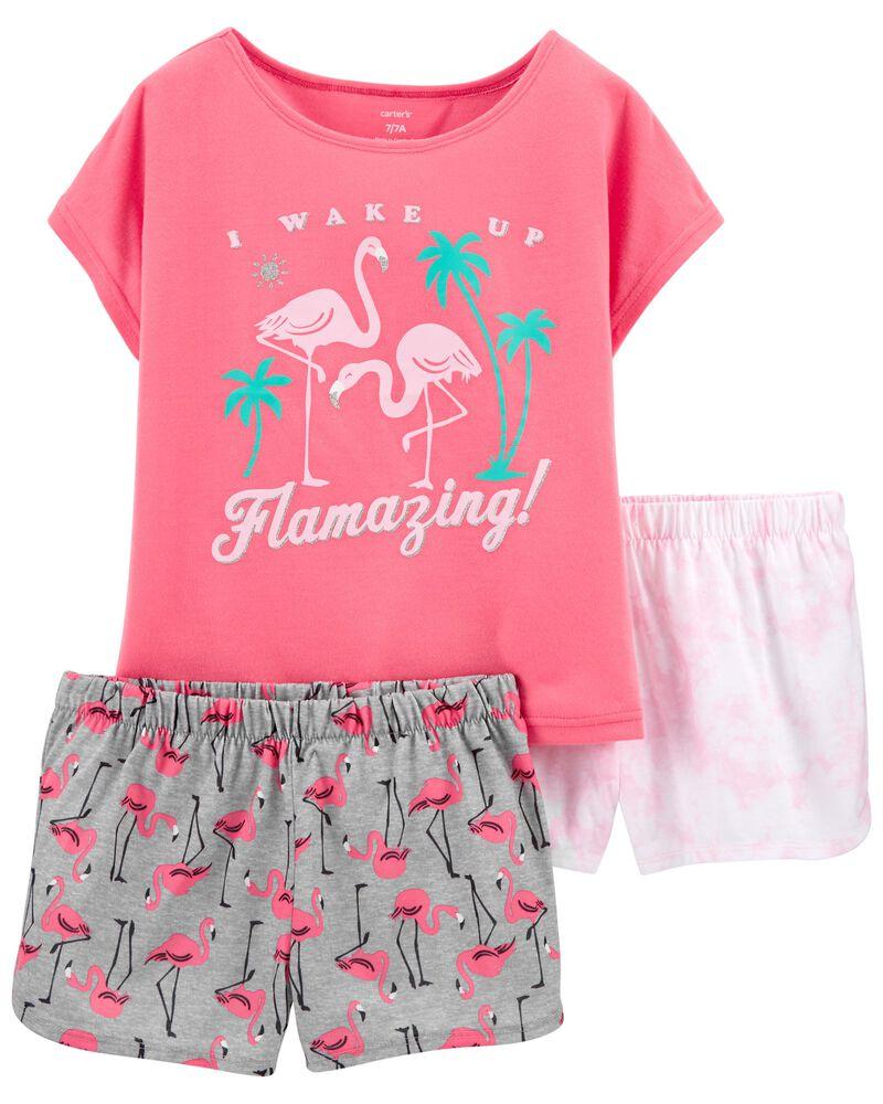 Pyjama 3 pièces de coupe ample motif flamant, , hi-res
