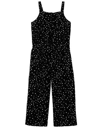 Heart Print Wide Leg Crop Jumpsuit