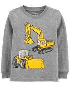 T-shirt en jersey flammé à imprimé de construction, , hi-res