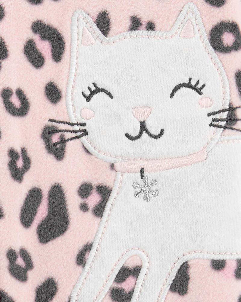 Grenouillère en molleton à glissière motif chat, , hi-res