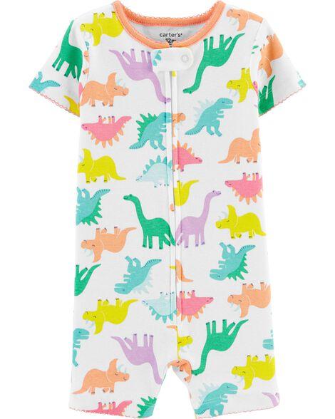 Pyjama barboteuse 1 pièce en coton ajusté à dinosaure