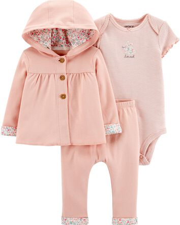 3-Piece Giraffe Little Cardigan Set