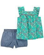2-Piece Floral Tank & Chambray Short Set, , hi-res