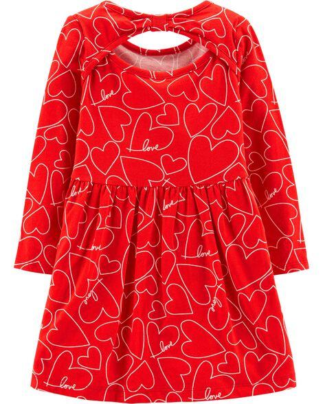 Robe en jersey à imprimé de cœur