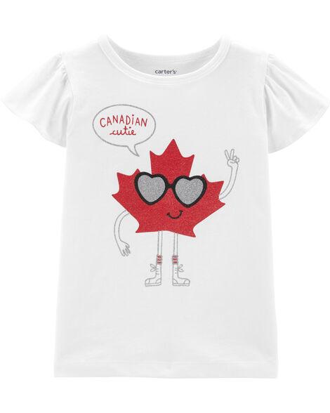 T-shirt Canadian Cutie avec feuille d'érable et manches volantées