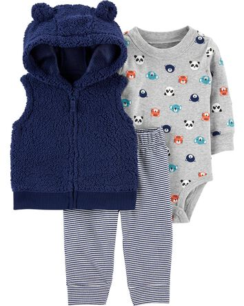 3-Piece Sherpa Little Vest Set