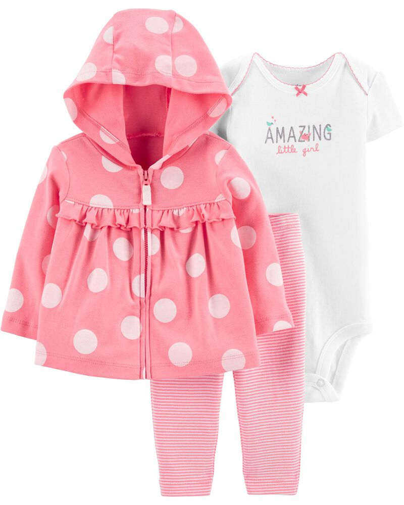 3-Piece Polka Dot Little Jacket Set, , hi-res