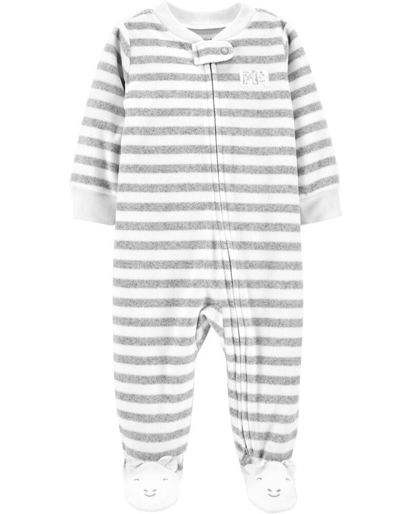 Striped Zip-Up Fleece Sleep & Play, , hi-res