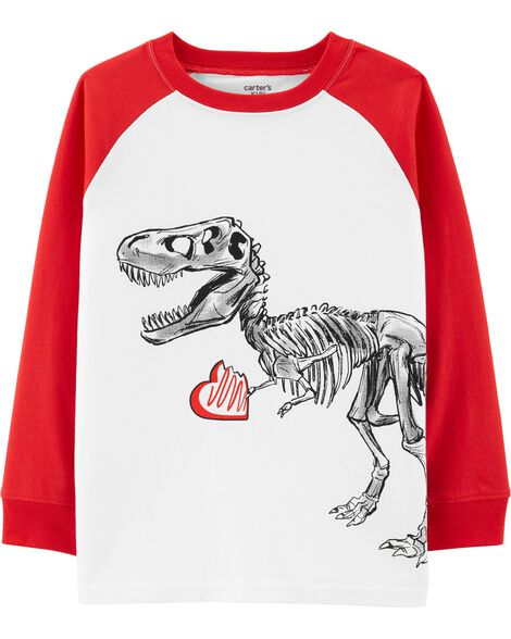 T-shirt à manches raglan dinosaure de la Saint-Valentin