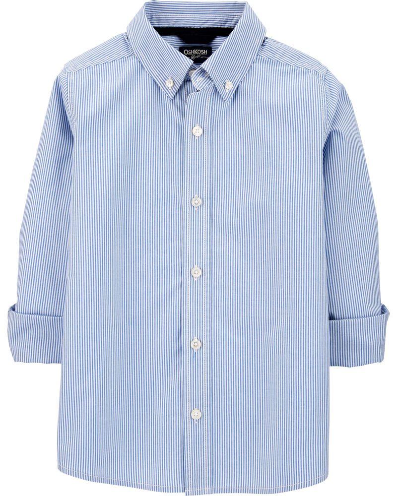Striped Uniform Button-Front Shirt, , hi-res