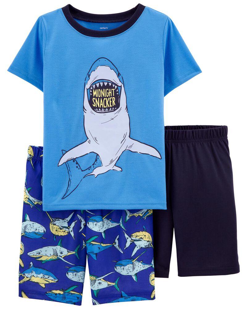 Pyjama 3 pièces de coupe ample à pieds et requin, , hi-res