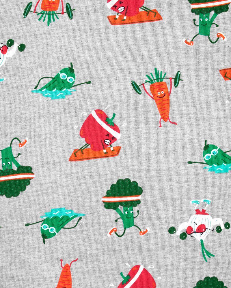 Pyjama 4 pièces en coton ajusté veggies, , hi-res