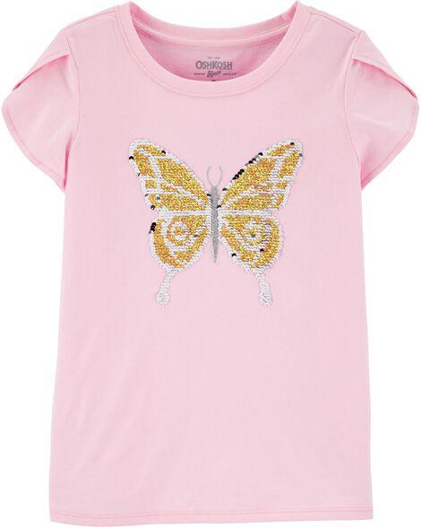 Haut avec papillon à paillettes réversibles