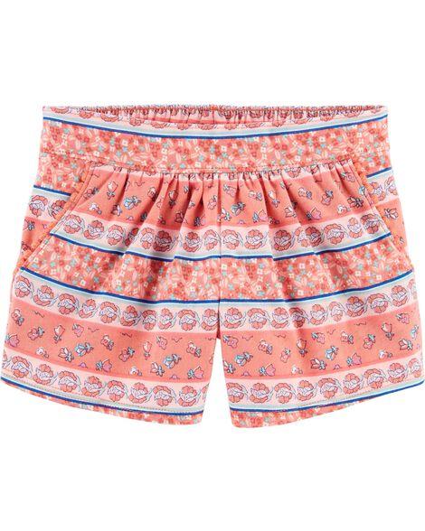Floral Pom Pocket Pull-On Shorts