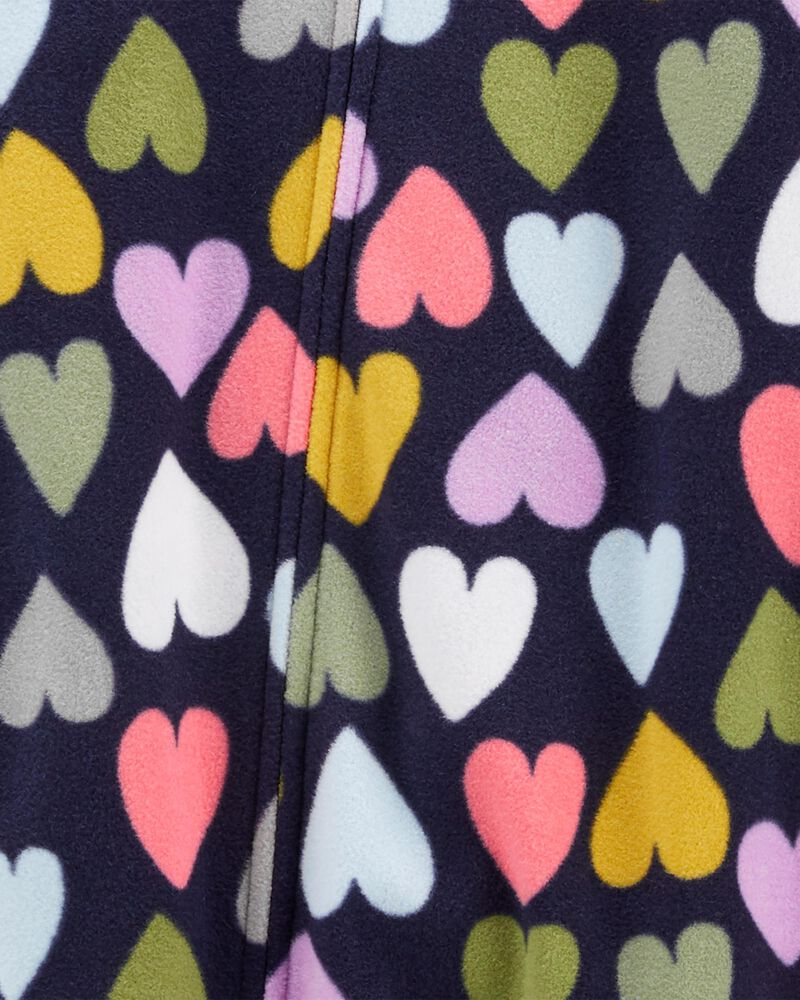 Pyjama 1 pièce à pieds en molleton avec cœur, , hi-res