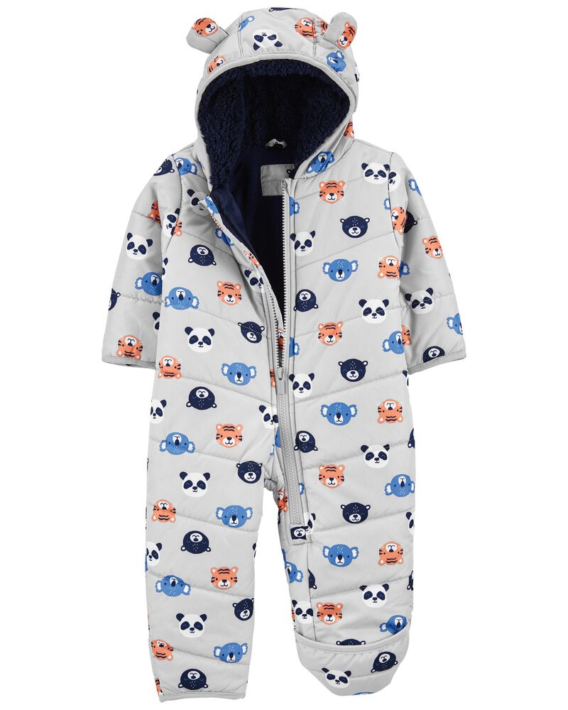 Animal Print Zip-Up Pram, , hi-res