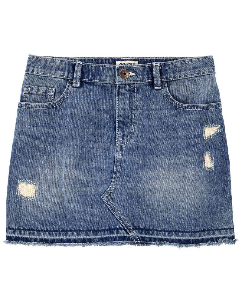 Rip-&-Repair Denim Skirt, , hi-res