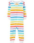 Pyjama 1 pièce sans pieds en coton ajusté à rayures, , hi-res