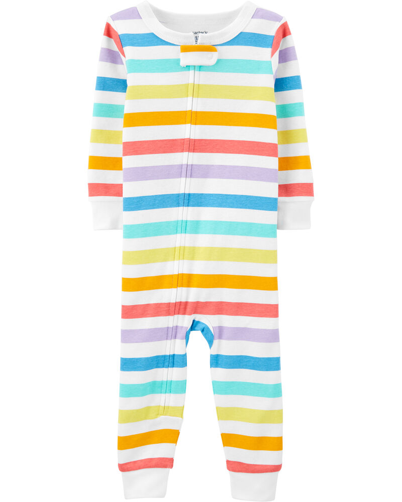 1-Piece Striped Snug Fit Cotton Footless PJs, , hi-res