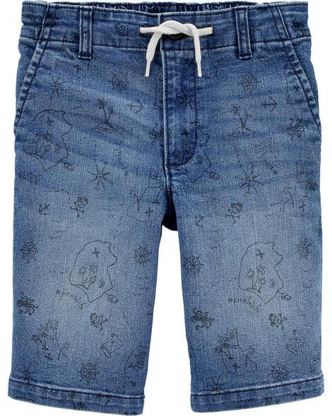 Nautical Pull-On Denim Shorts