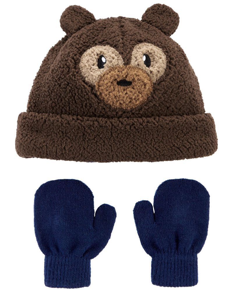 2-Piece Sherpa Hat & Mittens Set, , hi-res