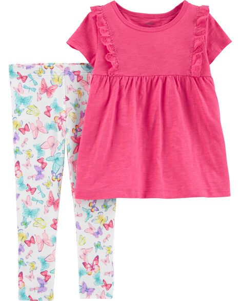 2-Piece Ruffle Slub Jersey Top & Butterfly Legging Set