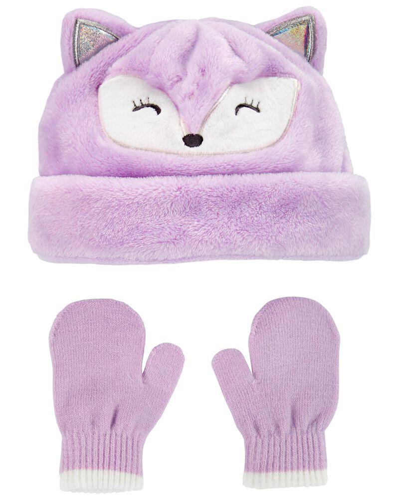 2-Piece Fox Hat & Mitten Set, , hi-res