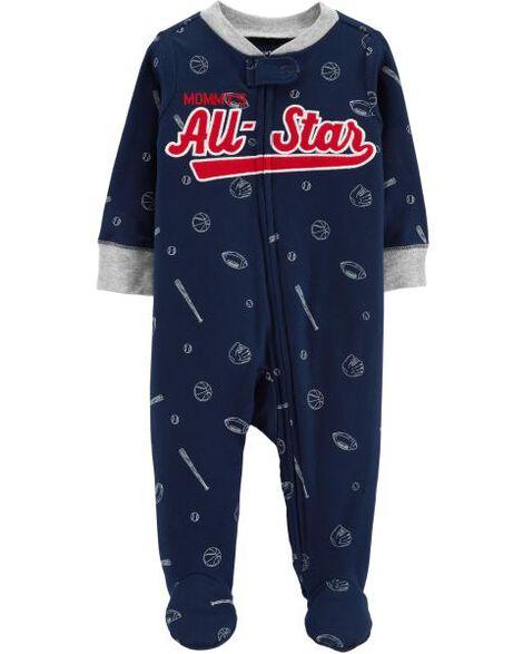 Grenouillère en coton pour dormir et jouer avec glissière à motif baseball