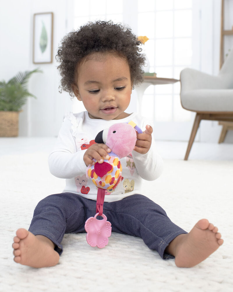 Bandana Buddies Chime & Teethe Toy - Flamingo, , hi-res