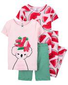 4-Piece Watermelon 100% Snug Fit Cotton PJs, , hi-res