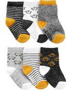 Emballage de 6 paires de chaussons animaux, , hi-res